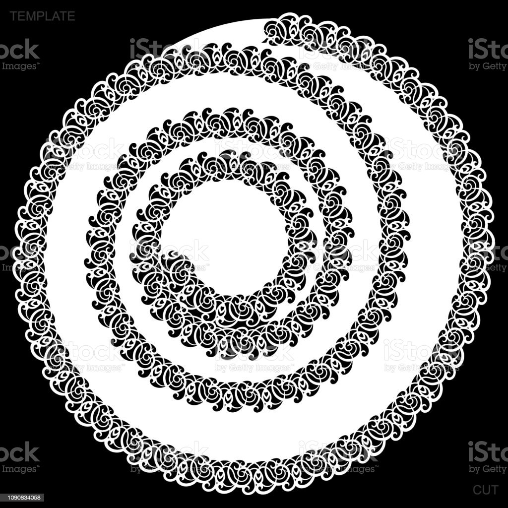 Lace Round Paper Doily Drawing Spiral Greeting Element Laser