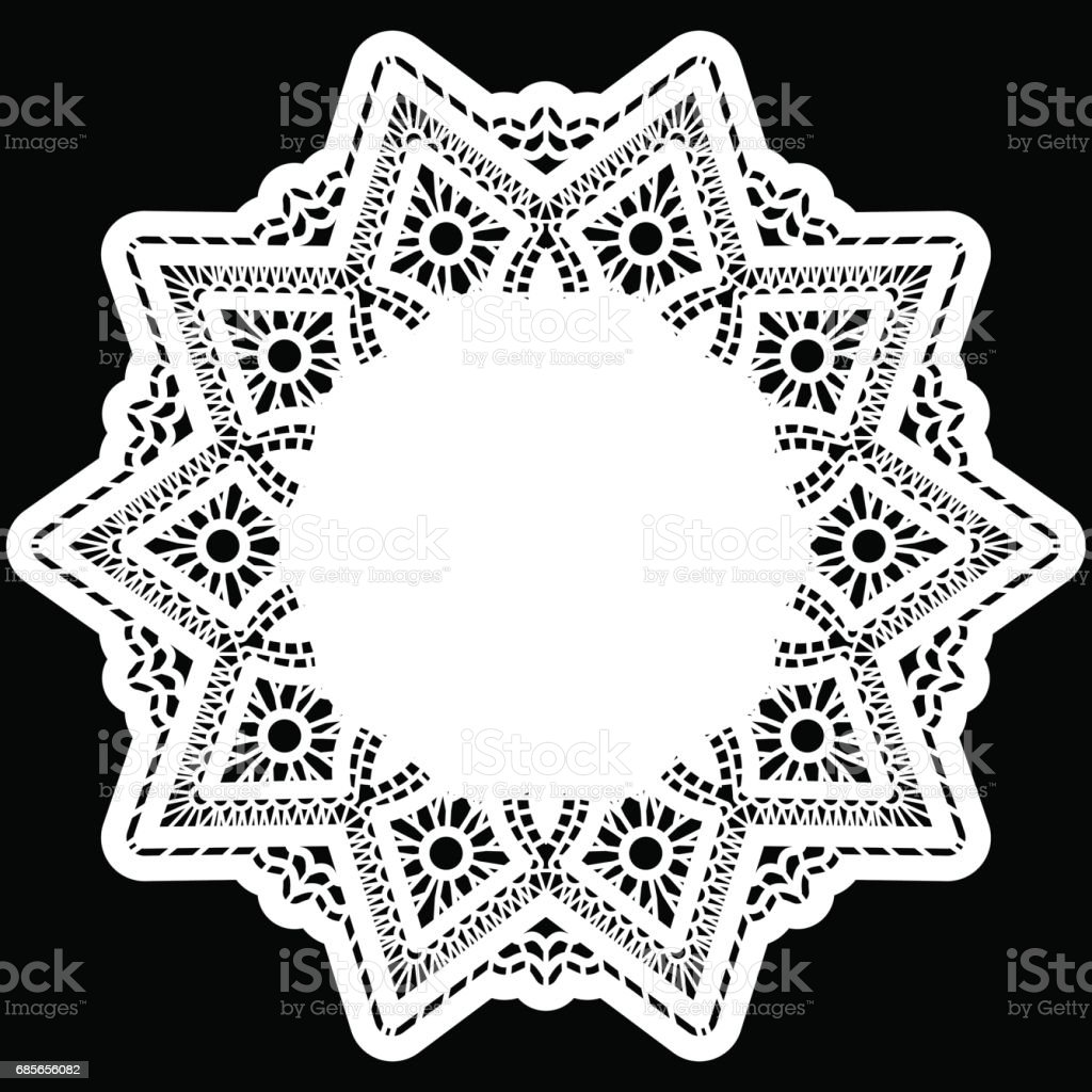 Lace round paper doily, greeting element package, doily - a template for cutting, lace pattern, decorative flower, vector illustrations 免版稅 lace round paper doily greeting element package doily a template for cutting lace pattern decorative flower vector illustrations 向量插圖及更多 俄羅斯 圖片