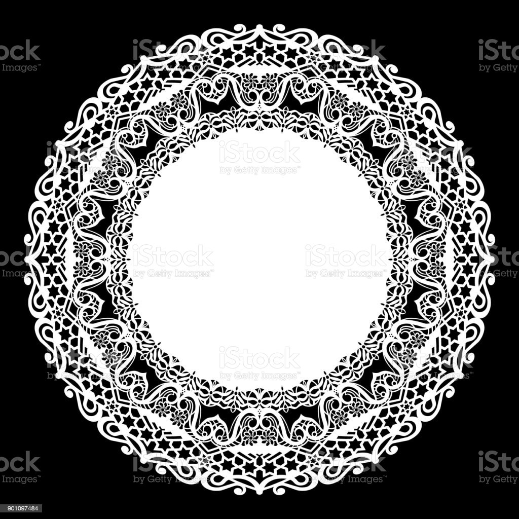lace round paper doily lacy snowflake greeting element laser cut
