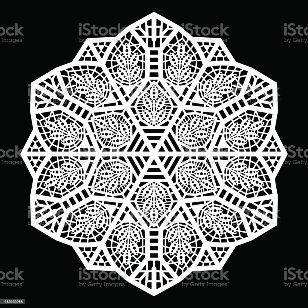 Lace round paper doily, lacy snowflake, greeting element package, doily - a template for cutting, vector illustrations lace round paper doily lacy snowflake greeting element package doily a template for cutting vector illustrations - arte vetorial de stock e mais imagens de amor royalty-free