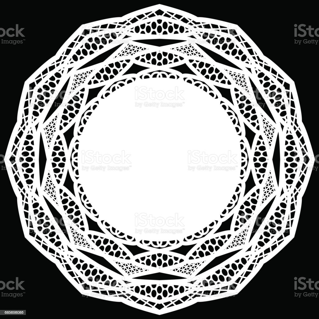 Lace round paper doily, lacy snowflake, greeting element package, doily - a template for cutting, lace pattern,  vector illustrations royalty-free lace round paper doily lacy snowflake greeting element package doily a template for cutting lace pattern vector illustrations stock vector art & more images of art