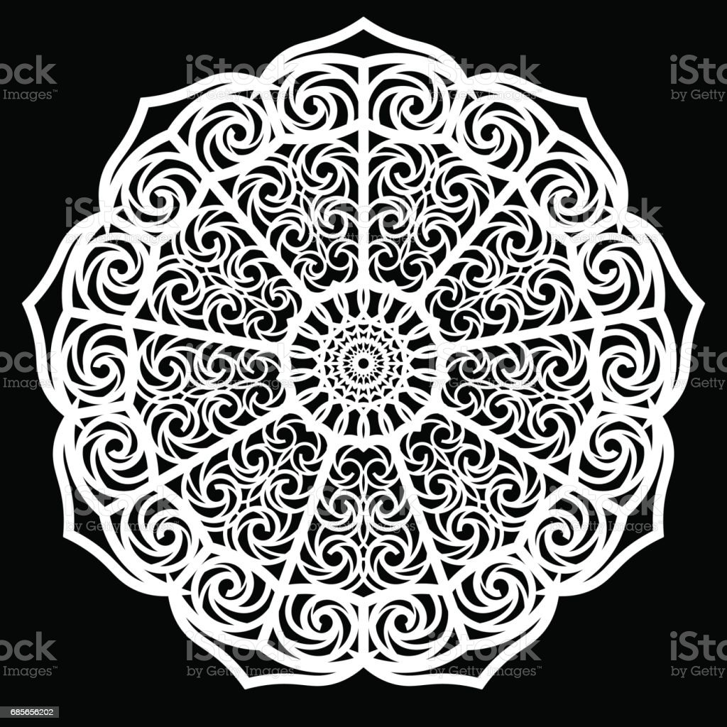Lace round paper doily, lacy snowflake, greeting element package, doily - a template for cutting, lace pattern,  vector illustrations Lizenzfreies lace round paper doily lacy snowflake greeting element package doily a template for cutting lace pattern vector illustrations stock vektor art und mehr bilder von altertümlich
