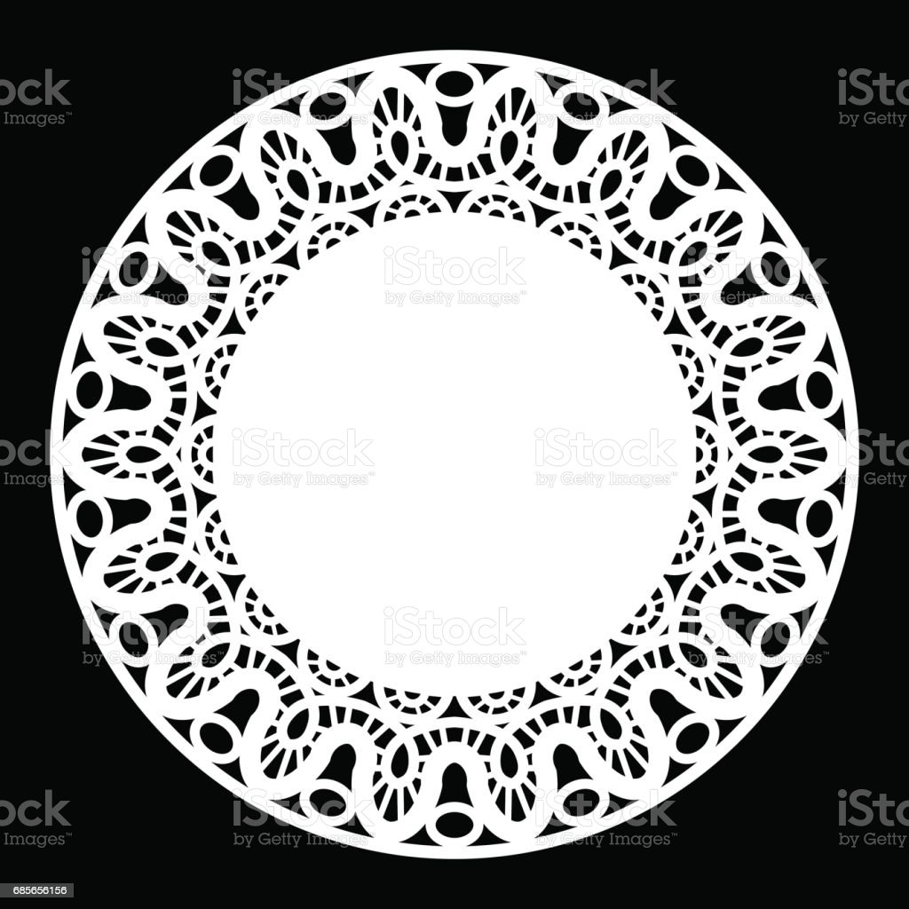 Lace round paper doily, lacy snowflake, greeting element, template for cutting, vector illustrations royalty-free lace round paper doily lacy snowflake greeting element template for cutting vector illustrations 가위에 대한 스톡 벡터 아트 및 기타 이미지