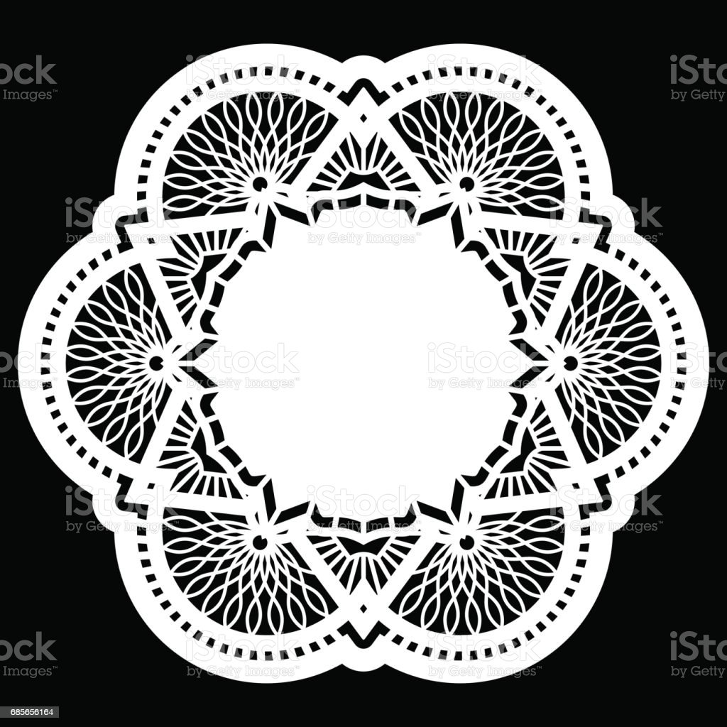 Lace round paper doily, lacy snowflake, greeting element, template for cutting, vector illustrations royalty-free lace round paper doily lacy snowflake greeting element template for cutting vector illustrations stock vector art & more images of art