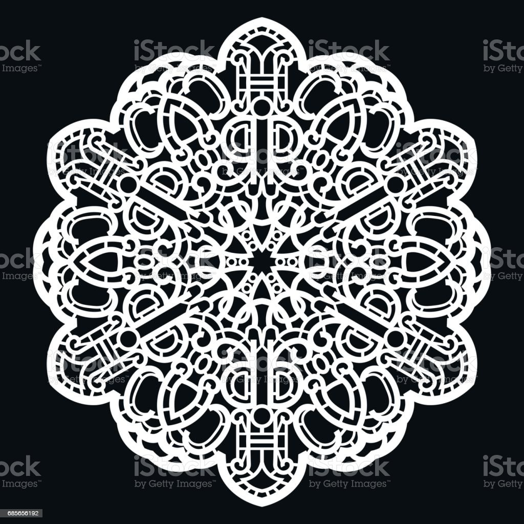 Lace round paper doily, lacy snowflake, greeting element,  template for cutting  plotter, round pattern, laser cut  template, doily to decorate the cake,  vector illustrations. ロイヤリティフリーlace round paper doily lacy snowflake greeting element template for cutting plotter round pattern laser cut template doily to decorate the cake vector illustrations - はさみのベクターアート素材や画像を多数ご用意
