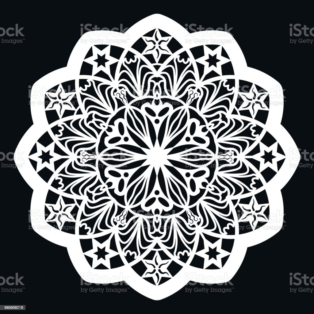 Lace round paper doily, lacy snowflake, greeting element,  template for cutting  plotter, round pattern, laser cut  template, doily to decorate the cake,  vector illustrations. royalty-free lace round paper doily lacy snowflake greeting element template for cutting plotter round pattern laser cut template doily to decorate the cake vector illustrations stock vector art & more images of art