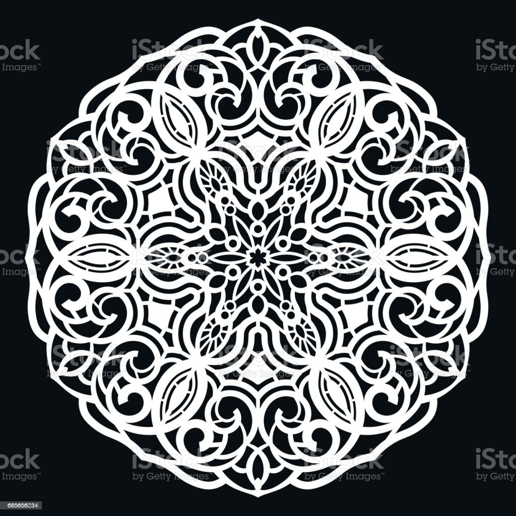 Lace Round Paper Doily Lacy Snowflake Greeting Element Template For ...