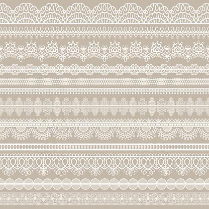 Lace seamless border. White cotton lace strips, embroidered decorative ornate eyelets pattern, horizontal textile stripe handmade vector set