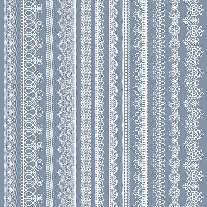 Lace seamless borders. Vintage ornamental lace strips with floral pattern, embroidered ornate eyelets handmade textile ribbons vector set