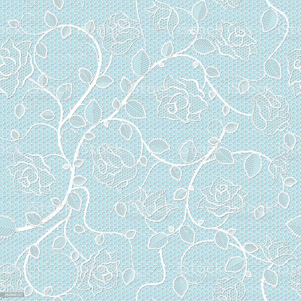 Pattern Senza Bordi Di Pizzo Con Rose Su Sfondo Blu Immagini