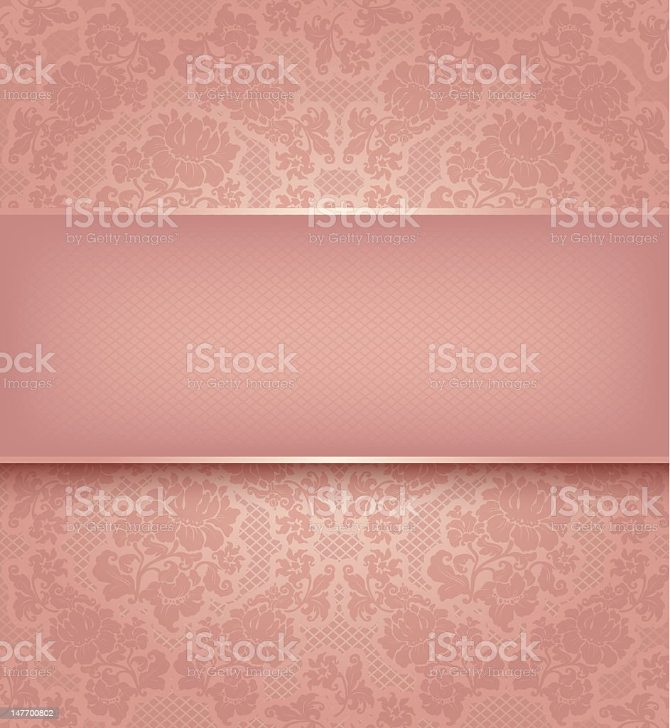 Lace template, ornamental pink flowers background royalty-free stock vector art