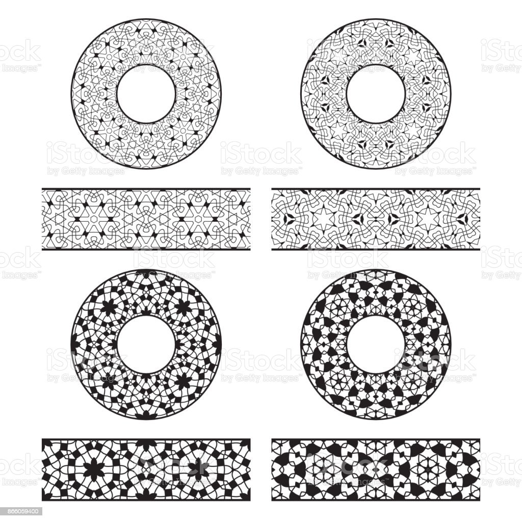 Lace Vector Brushes Templates And Round Decorations In Oriental ...