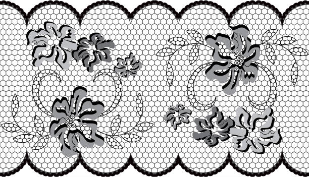 Lace with dimensional pattern vector art illustration