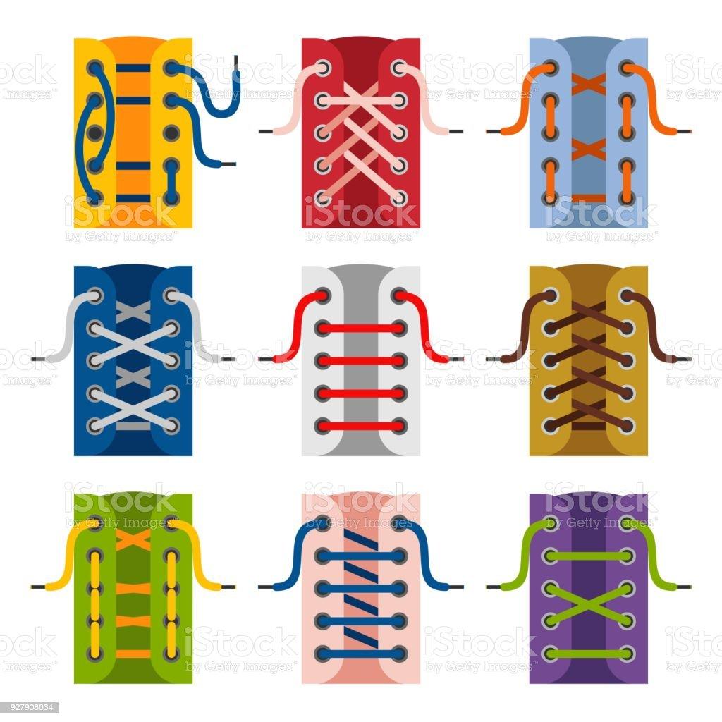 schnrsenkel schuhe symbole isoliert auf weiem hintergrund die schemen der schnrsenkel zu binden schnrung - Schnursenkel Binden Muster