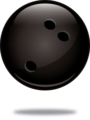 lack Bowling Ball With Shadow Icon