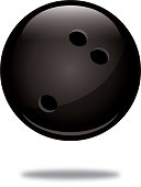Vector illustration of a shiny black bowling ball with a shadow below it.