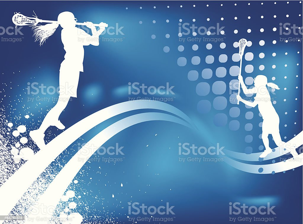 Lacrosse Competition Fantasy Background - Girls vector art illustration