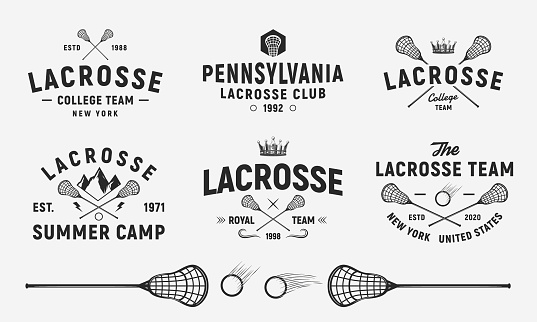 Lacrosse emblems, s, badges templates. Set of 6 Lacrosse s and 3 design elements.  Lacrosse stick and ball isolated on white background. Lacrosse team vector emblems
