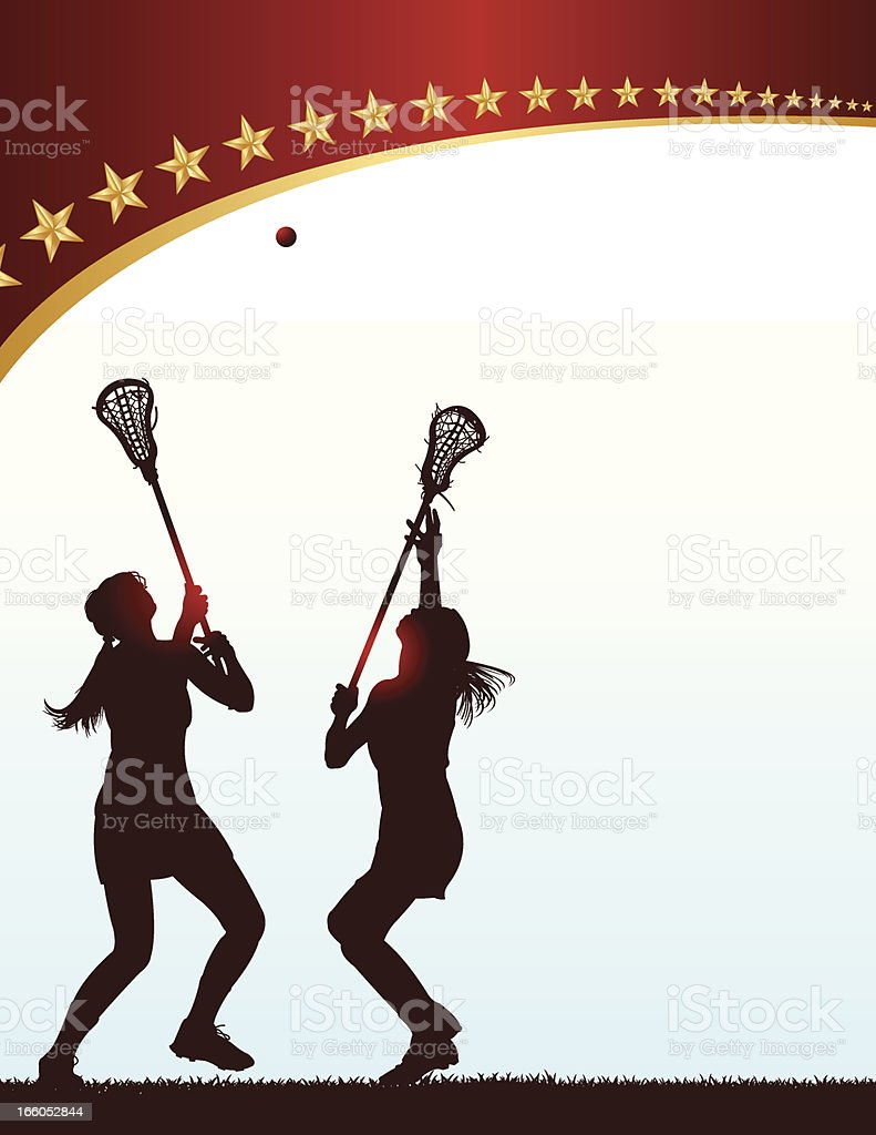 Lacrosse Face Off - Girls royalty-free stock vector art