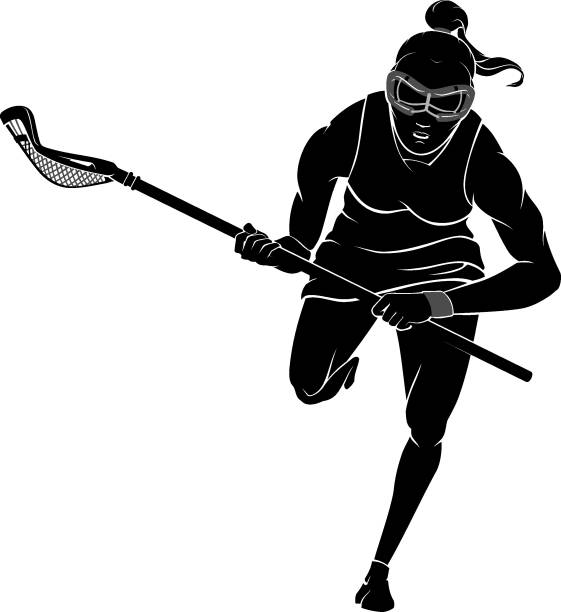 Lacrosse Front View, Female Athlete Charging vector art illustration