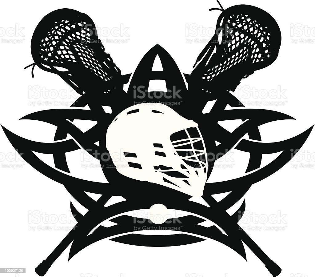 Lacrosse Icon with Attack Sticks and Helmet royalty-free lacrosse icon with attack sticks and helmet stock vector art & more images of face guard - sport