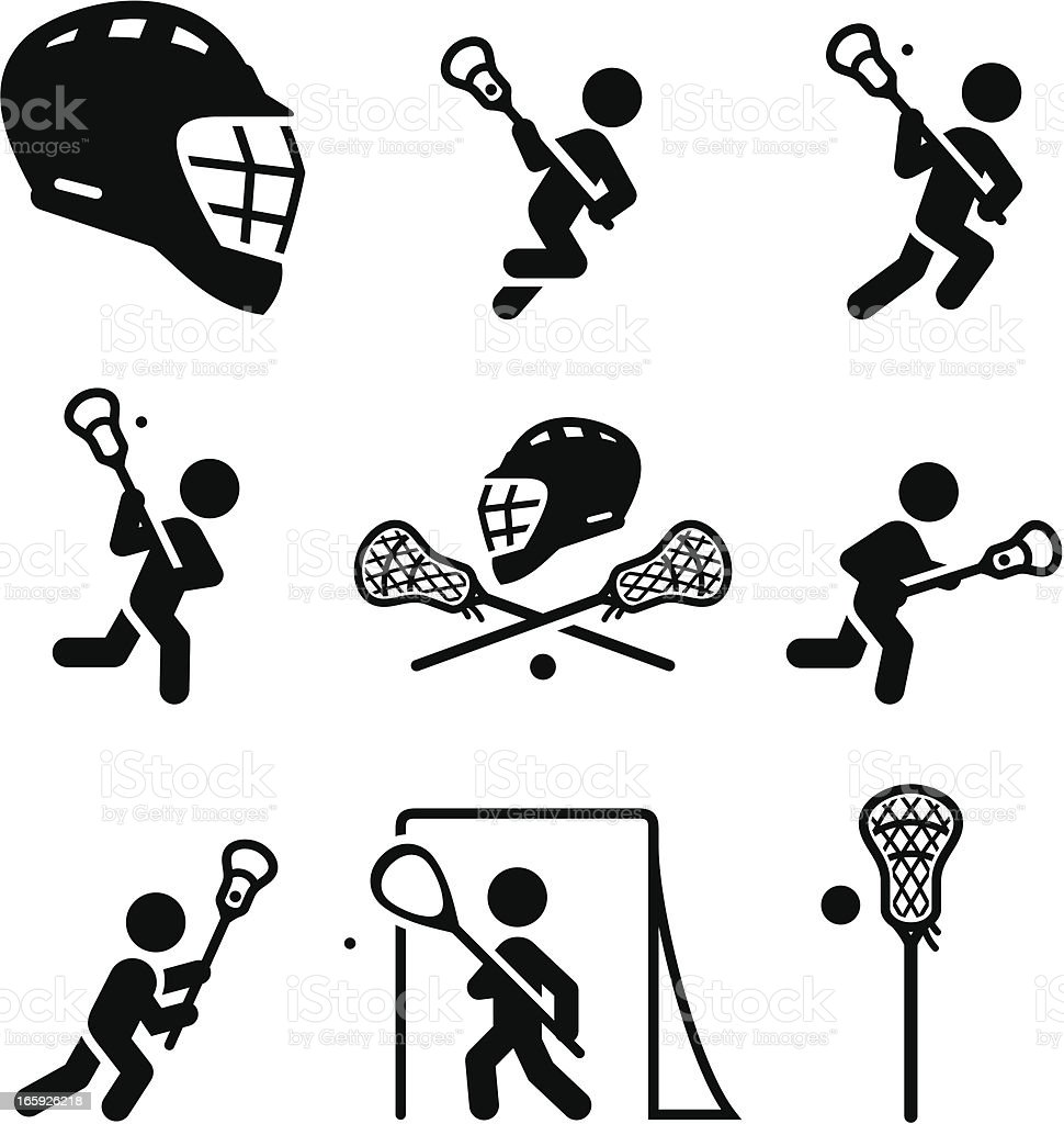 Lacrosse Icons - Black Series vector art illustration