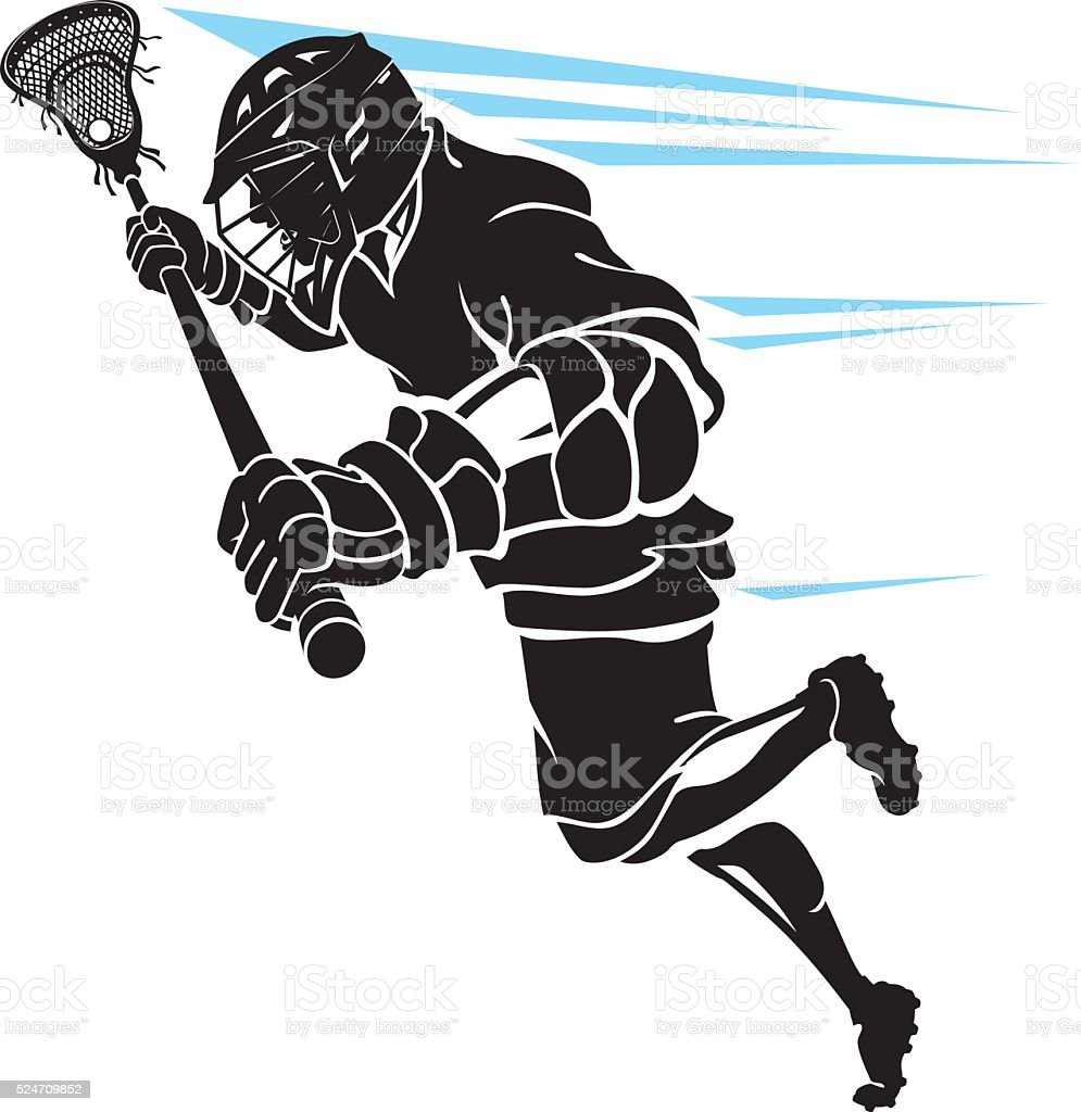 Lacrosse Player Charging vector art illustration