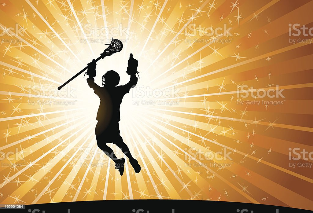 Lacrosse Player Victory Celebration Background - Male royalty-free stock vector art