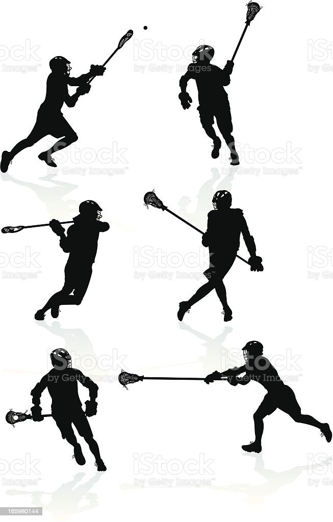 Lacrosse Players - Offense and Defense royalty-free stock vector art