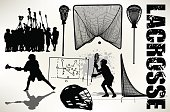 """Silhouette illustration of a Lacrosse All-Stars. Helmet, Stick, Goal. Scale to any size. Color changes a snap. Check out my """"Lacrosse"""" light box for more."""