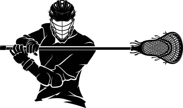 Lacrosse Pose Front vector art illustration