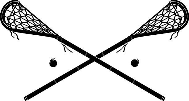 Lacrosse Stick Vintage Mohawk vector art illustration