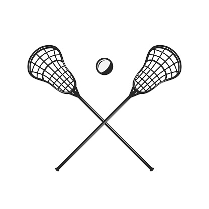 Lacrosse sticks and ball silhouettes isolated on white background. Crossed lacrosse sticks. Vintage design elements for symbol, badges, banners, labels. Vector illustration