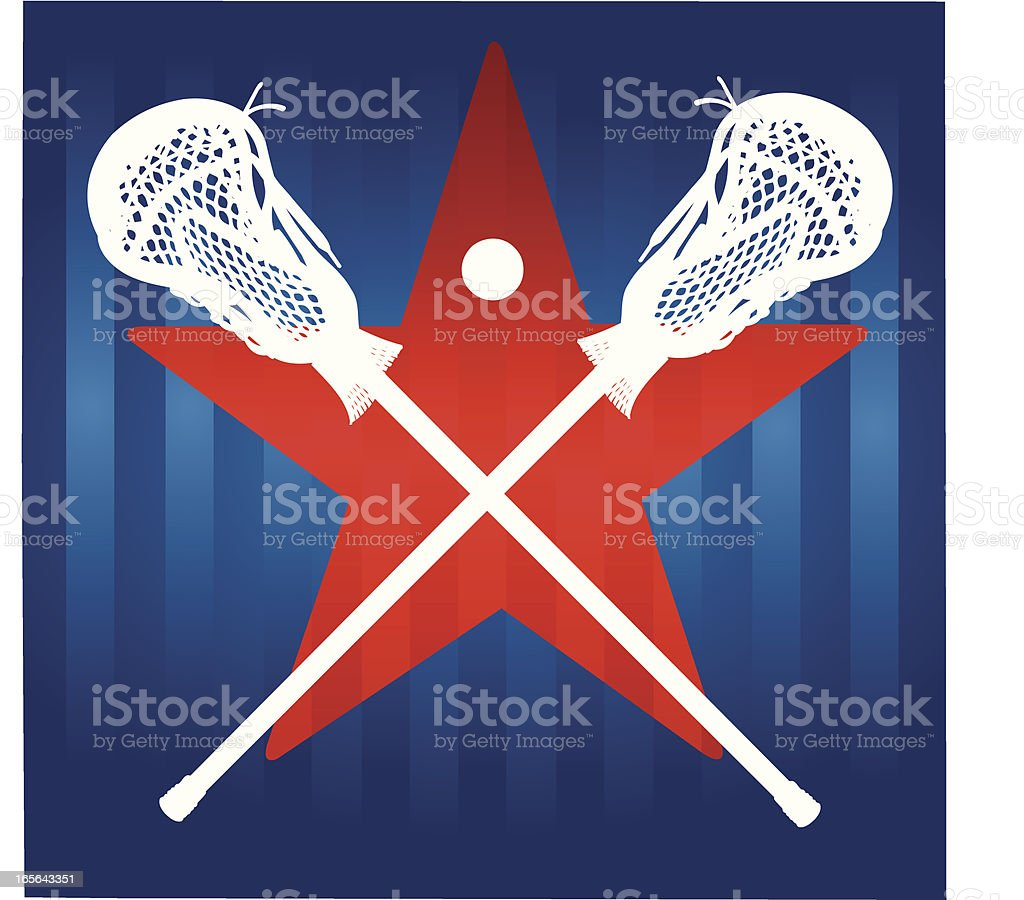 Lacrosse Sticks and Star Male royalty-free stock vector art