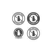 Lactose free circle vector sign for packaging. Lactose free symbol, milk bottle badge label.
