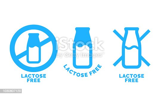 Lactose free logo icon. Vector contains no lactose label for healthy dairy food product package. Blue cow milk bottle sign design element