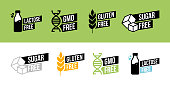 Lactose free, Sugar free, Gluten free, GMO free vector labels for food emblems designs, can be used as stamps, seals, badges, for packaging. Decorative element for healthy natural organic nutrition