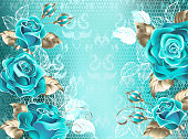 Turquoise lace background with turquoise roses, decorated with leaves of white lace and white gold. Fashionable color. Turquoise roses. White gold. Blue tiffany.