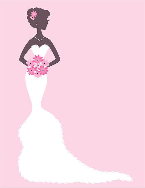 Lacy Bride The silhouette of a beautiful bride in a lacy gown. Colors easily changed in Photoshop. heyheydesigns stock illustrations