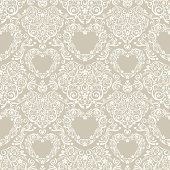 Seamless Pattern of Stylized Hearts.
