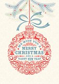 Lacy style Merry Christmas and Happy New Year Ornament Greeting Card. Decorated with trees, stars, swirls, reindeer and berries. Damask snowflake background.
