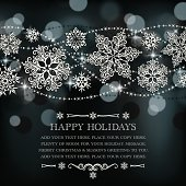 Let It Snow! Pretty stylized lacy snowflakes on a glowing background. Plenty of room for your text. Layered File. EPS 10 - transparencies, mesh, and gaussian blur used.