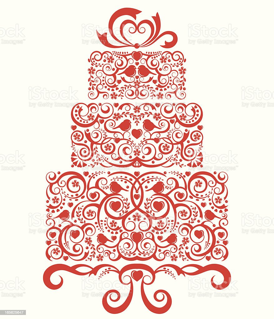 Lacy Wedding Cake royalty-free stock vector art
