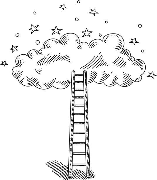 illustrazioni stock, clip art, cartoni animati e icone di tendenza di ladder and cloud drawing - dream
