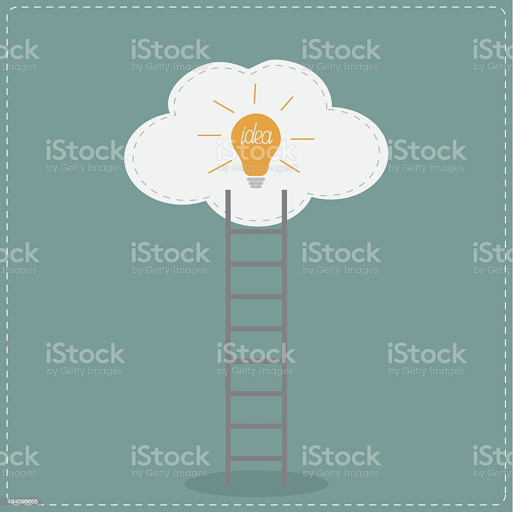Ladder and cloud with idea light bulb. Success concept. Flat vector art illustration