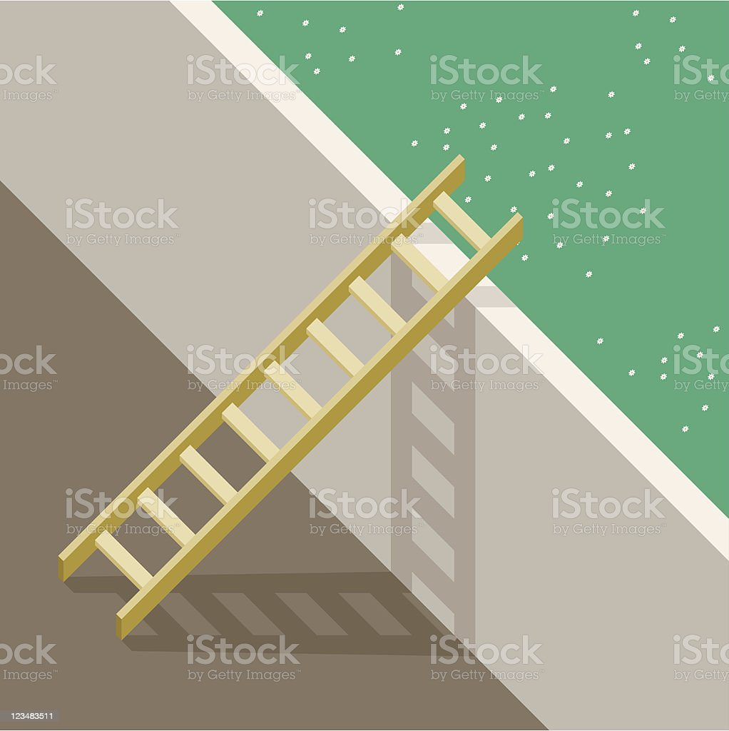 Ladder And Garden vector art illustration