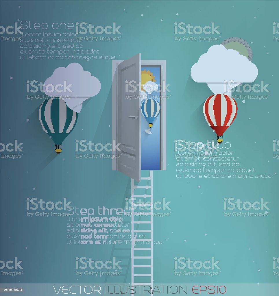 Ladder into the sky-vector illustration vector art illustration