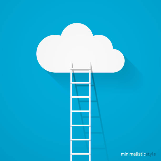 ladder leading to cloud - stopnie do sukcesu stock illustrations