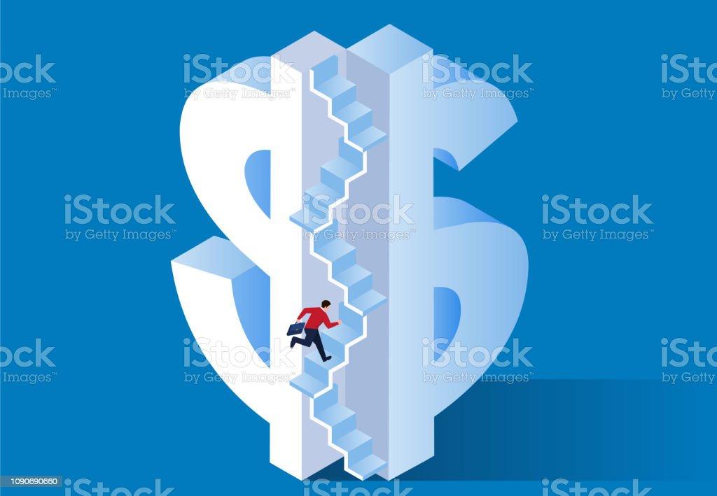 Ladder of money vector art illustration