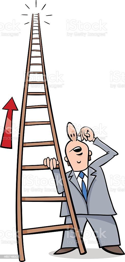 ladder of success cartoon vector art illustration